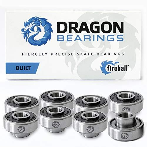 Fireball Dragon Skateboard Bearings for Skateboard & Longboards | 8-Pack Built-in Bearings (Built 8)