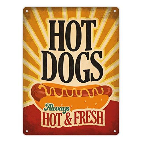 trendaffe - Metallschild XL mit American Diner Classics - Hot Dogs Motiv