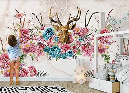 Hirschkopf Geweih Blumentapete Vlies Tapete 3D-Effekt Wandbild Wanddekoration Wandbild Tapete Wanddekoration fototapete 3d Tapete effekt Vlies wandbild Schlafzimmer-430cm×300cm