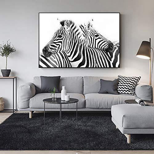 Zwart-wit linnen, kunstcanvas op canvas, abstract, zebrapatroon, muurschildering, kunstdruk op canvas, decoratie van het huis zonder lijst