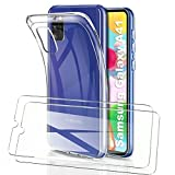 HTDELEC Funda + 2 Pack Vidrio Templado para Samsung Galaxy A41,Transparente Slim Silicona Fundas Suave TPU Gel Carcasa Ultra-Delgado Anti-arañazos Protectora Case Cover para Samsung Galaxy A41