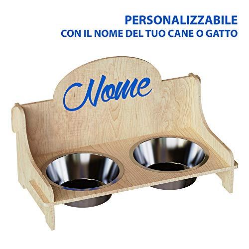Cemab Pet Station Schüsselhalter aus Holz für Hunde und Katzen, mit zwei Fächern für Wasser- und Futterschalen aus Metall Personalisiert mit Namen Con Nome Personalizzato