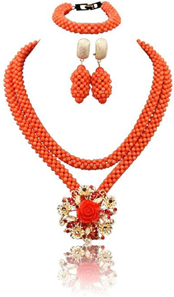 Africanbeads 4mm Orange Coral Ranking TOP15 Albuquerque Mall Beads Neck Women Jewelry Set