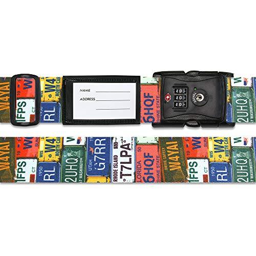 旅行用品 ホビー ペット 旅行用便利グッズ TSAロック付きスーツケースベルト 転写柄(アメリカ旅行の必需品) NV3562(サイズはありません ア:ナンバープレートガラ)