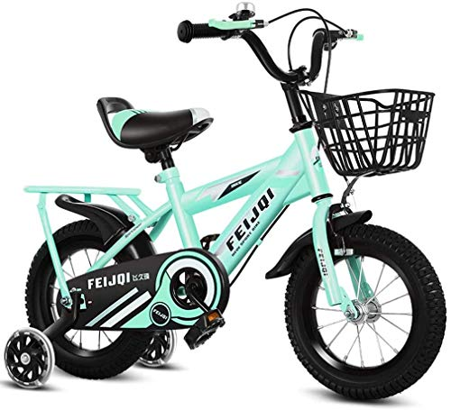 HCMNME Durable Bicycle 2020 New Mountain Bike for Kids, Boys Girls Sporty Bicycle with Training Wheels and Basket, High-Carbon Steel 12 14 16 18 Inch Child Bike for 2-12 Years Old,Green1,16inch