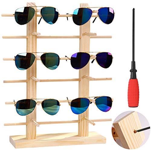 Justdolife Brillenständer Holz, Brillenständer für Mehrere Brillen, Brillenhalter Brillengestell Ständer Sonnenbrillenständer 2-Row, 6 Schicht - Holz Brille Aufbewahren