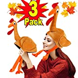 3 Pack Turkey Hats for Kids Woman Man Thanksgiving Hat with Head Thanksgiving Party Favors Supplies Fun Plump Turkey Hat Legs and Tail Fancy Dress Accessory Trot Accessory Toy Brown