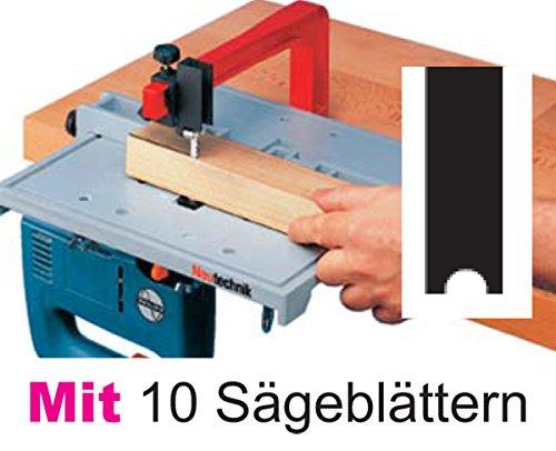 Neutechnik Präz.-Stichsägetisch für jede Stichsäge - Basisgerät + 10 extra langen Sägeblätter Typ BLACK+DECKER (glatter Schaft)