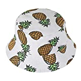 ZLYC Unisex Cute Pineapple Print Bucket Hat Summer Fisherman Cap, White