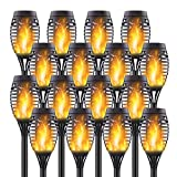 Permande 16 Pack Upgraded Solar Lights Outdoor, Mini Solar Torch Lights with Flickering Flames, Waterproof Landscape Decoration Dancing Flame Lights for Garden Pathway Yard, Auto On/Off Dusk to Dawn