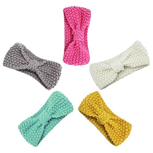 XPX Kleding Baby Meisjes Hoofdbanden Wol Breien Stoffen Turban Haarbanden voor Kinderen (5 Pack)