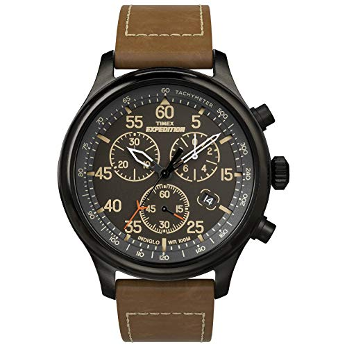 Timex Men's Expedition Field Chrono Analog Quartz Leather Strap, Brown, 20 Casual Watch (Model: TW4B208009J)