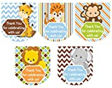 90 Hand Sanitizer Labels Thank You Stickers Boy Baby Shower Favors Safari Animals