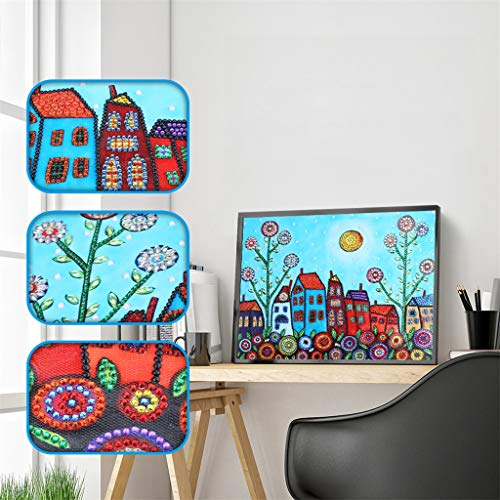 DIY 5D Diamond Painting by Number Kit for Adults or Kids, Cartoon Village Scenery Canvas Special Shape Drill Rhinestone Picture for Home Wall Decor, 11.8 x 15.7 inches (Scenery 3)
