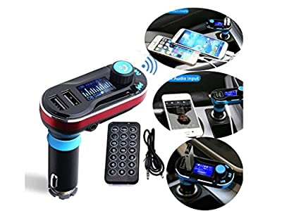SolidPin Wireless Bluetooth FM Transmitter Music Hands-free Calling MP3 Player Car Kit USB Charger SD LCD for iPhone 7 Plus 6S Samsung Motorola Nexus Android Cell Phone/ Tablet, iPod iPad
