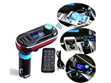 SolidPin Wireless Bluetooth FM Transmitter Music Hands-free Calling MP3 Player Car Kit USB Charger SD LCD for iPhone 7 Plus 6S Samsung Motorola Nexus Android Cell Phone/Tablet, iPod iPad - Red