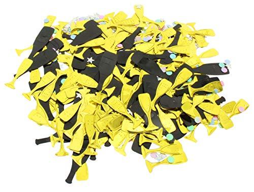MIK Funshopping strooidecoratie set confetti tafeldecoratie Champagneflessen & glazen goud zwart 25g