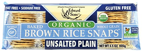 Edward & Sons Brown Rice Snaps, Unsalted Plain with Organic Brown Rice, 3.5 Ounce Packs (Pack of 12) (SHOMASPV2178)