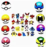 8 Collectible Random Pokeball + 24PCS Mini Poke Action Figures pet Pocket Monster Action Figures Toy for Kids Ages 2 and Up Contain (Cue Ball)