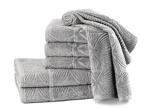 my cocooning Juego de toallas Agatha de 6 piezas, color gris, suaves y absorbentes, 100% algodón, 2 toallas de ducha grandes (70 x 140 cm) y 4 toallas pequeñas (50 x 90 cm), lavables a máquina