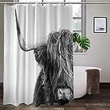 Cortina de ducha Litthing – 180 x 180 cm – Antimoho y repelente al agua con 12 anillos de cortina de ducha – Impresión digital 3D, Highland Cow
