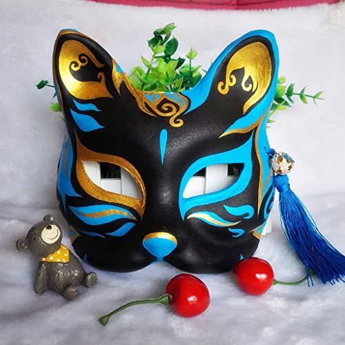 Mascara de baile Máscara de baile cosplay de cara de gato de estilo chino, máscara de media cara de zorro pintada a mano, máscara de máscara y máscara de demonio zorro demonio masculino y femenino mas