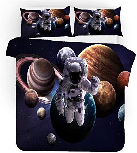 Htekgme Space Astronaut Duvet Cover Set 3D Bedding Planet Mars Probe Solar System Bed Sets 2-4PCS Quilt Covers/Sheets/Pillow Shams Single/Double/King Size-Space Astronaut A1 (Double-200×200cm-3PCS)