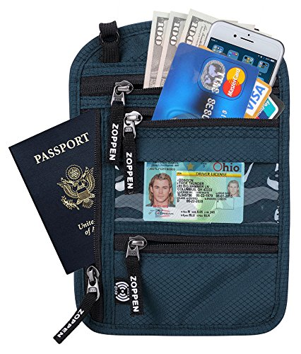 Zoppen RFID -Blocking Travel Passport holder Neck Stash Ultra Slim Wallet, Blue