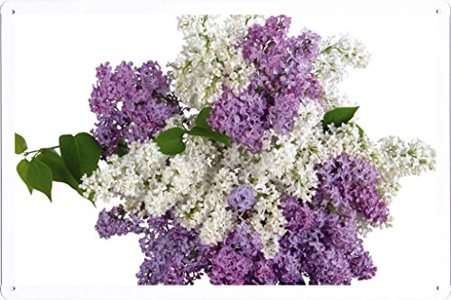 Flower Tin Sign Lilacs Bouquet White Purple Vase 30068 by Waller's Decor (7.8'x11.8')