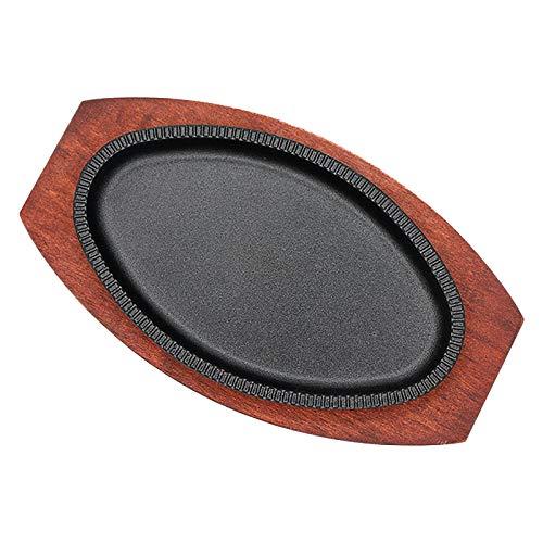 Heavy Sizzler de Hierro Fundido pre-sazonado Que Sirve Plato/Plato de bistec con Soporte de Madera, Placa de fundición de Hierro sizzler sartén (Size : 28 * 17cm)