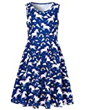 Funnycokid Girls Blue Unicorn Dress Vestidos de Fiesta a Media Pierna sin Mangas con Cuello Redondo, Unicornio 4,8-9 años (L)