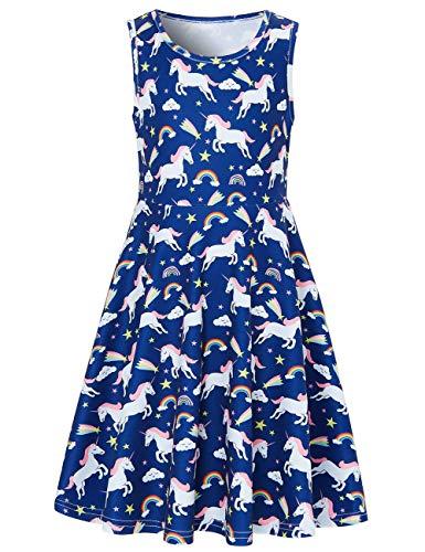 Funnycokid Mädchen Sommer Bekleidung Drucken Kleid,Einhorn 4,10-13 Jahre (XL)