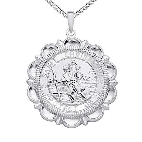 FJ Collier Saint Christophe Pendentif Médaille Talisman Prot