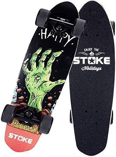 ZHNA Anfänger Skateboard, Professionell Ahornholz 4 Rädern Konkav Cruiser Skateboards, Classics Retro Fishboard Skateboards (Color : Hands)