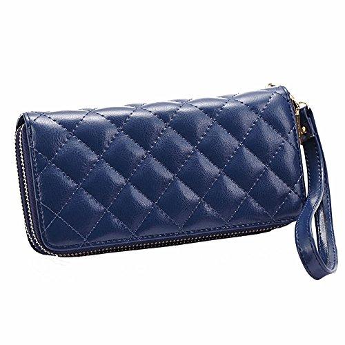 Jsix Portafoglio Borse per Donna in pelle compatto apertura zip (blu)