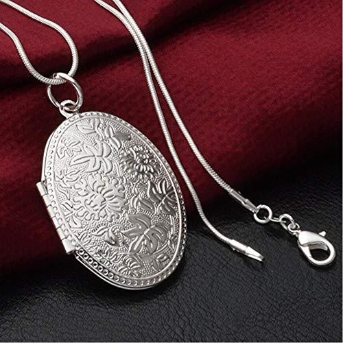 VBFG Mooie Mode Verzilverd Carving Medaillon Hanger Ketting Choker Ketting Sieraden Cadeau Met Foto 5K5P