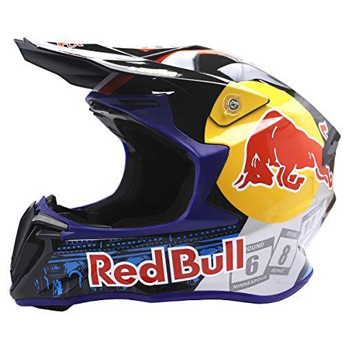 Casco de motocross, Casco de motocross para jóvenes, Casco de motocross profesional, Certificación DOT, Casco integral MTB, Apto para adultos y niños Red Bull blue,S=55-56CM