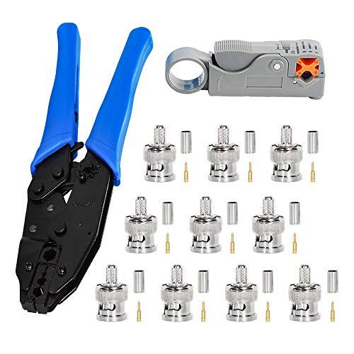 Crimpzange, BNC + Abisolierer für Koaxialkabel + 10 BNC-Crimpverbinder, für RG58, zum Entfernen von Koaxialkabeln
