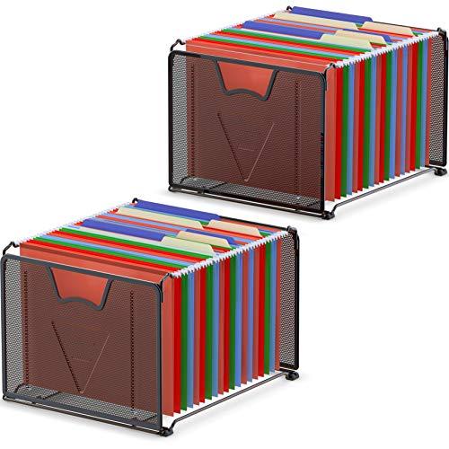 2-Pack SimpleHouseware Mesh Hanging File Organizer, Black