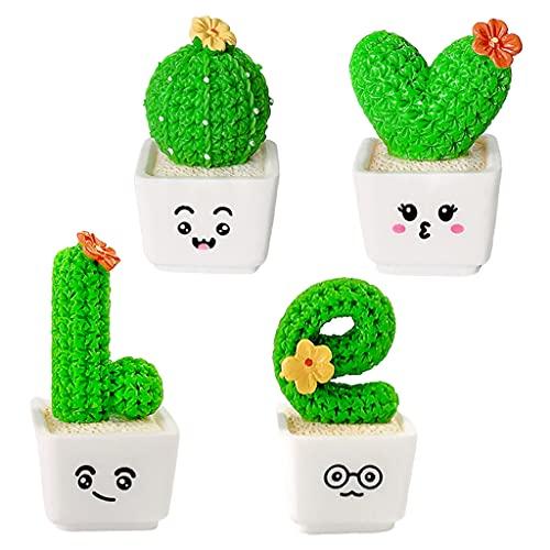 MagiDeal Paquete de 4 Plantas suculentas Falsas, pequeñas Plantas Blanca en Maceta de Cactus, Mini suculentas Decorativas Falsas para alféizares de Ventanas, Small