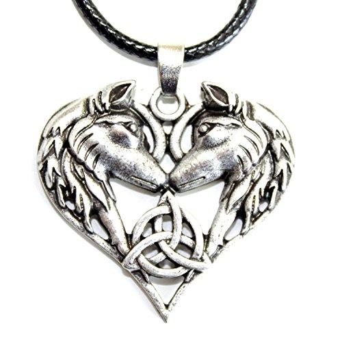 Collar con colgante de lobo, zorro, amor, amistad, corazón plateado, luna vikinga païen, Wicca...