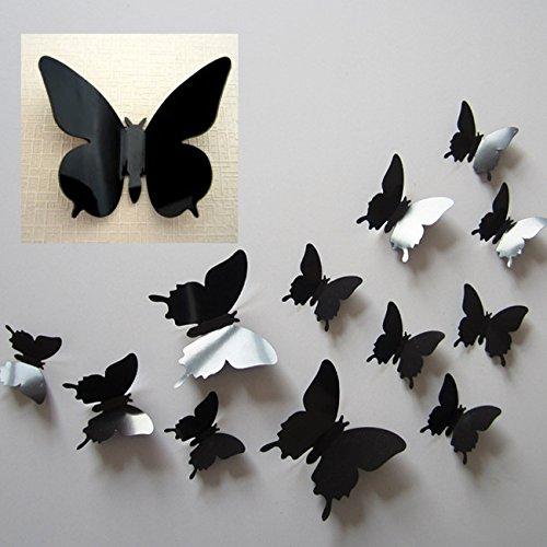 DP DESIGN SET 12 FARFALLE ADESIVE NERE IN PVC EFFETTO 3D DA MURO PARETE ARMADIO SPECCHIO DECORAZIONE CASA NERO