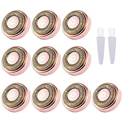 Facial Hair Remover Replacement Heads,18K Rose Gold-Plated Blade Head,Perfect for Finishing Touch Flawless Hair Remover, As Seen On TV,10 Count,10 Replacement Heads,10 Traveling Case,2 Brush