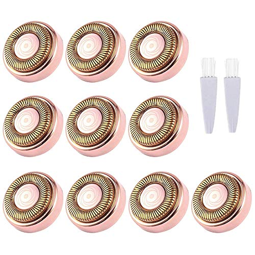 Facial Hair Remover Replacement Heads, Fit all Hair Remover Best and Soft Touch, As Seen On TV, 18K Gold-Plated Rose Gold, 10 Count,10 Travel case,2 brush