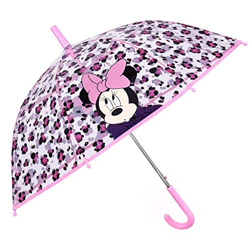 Paraguas Infantil Transparente Minnie Mouse - Paraguas Niña Burbuja Disney Minni - Rosa Leopardo Machado - Cupula Antiviento Apertura de Seguridad - Automatico 5/7 Años - 74 cm de Diámetro - Perletti