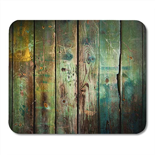AOHOT Mauspads Green Rustic Old Wood Colorful Vintage Antique Rugged Wall Wooden Mouse pad 9.5