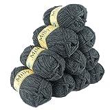 500g Filzwolle Milly Wolle zum Strickfilzen 100% Schurwolle, große Farbwahl, Farbe:07 dunkelgrau