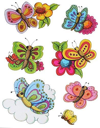 alles-meine.de GmbH 7 TLG. Set: Fensterbild - Schmetterlinge & Blumen - statisch haftend - Sticker Fenstersticker / z.B. für Fenster und Spiegel - Aufkleber selbstklebend wiederv..
