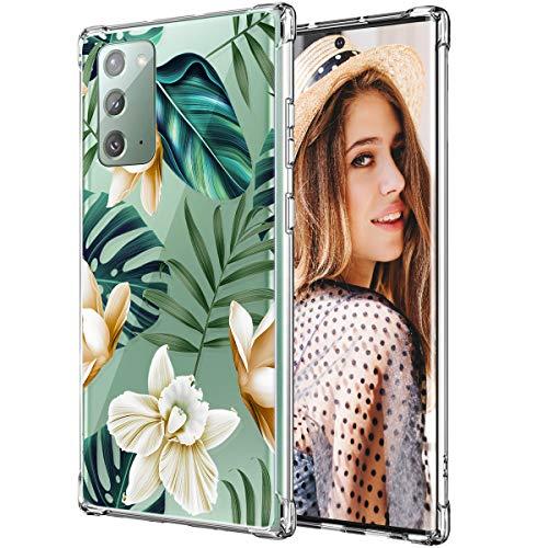 iDLike Galaxy Note 20 Case for Women Girls, Clear Floral Flower Cute Design