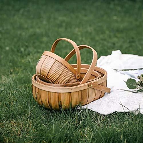 Cestas para Picnic Cesta de picnic Fruta Cesta de verduras Casa Canasta de mimbre vacío Oval Sauce Wovo Caja Organiza Cesta de frutas con mango Canasta de picnic presente para picnic, fiesta Cestas de